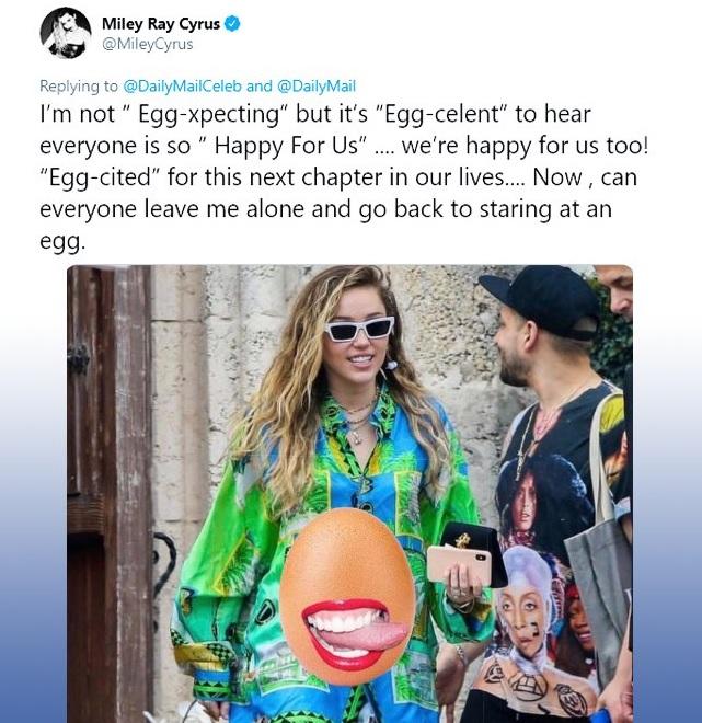 La irreverente cantante se limitó a negar la información con un mensaje (Foto: Twitter Miley Ray Cyrus)