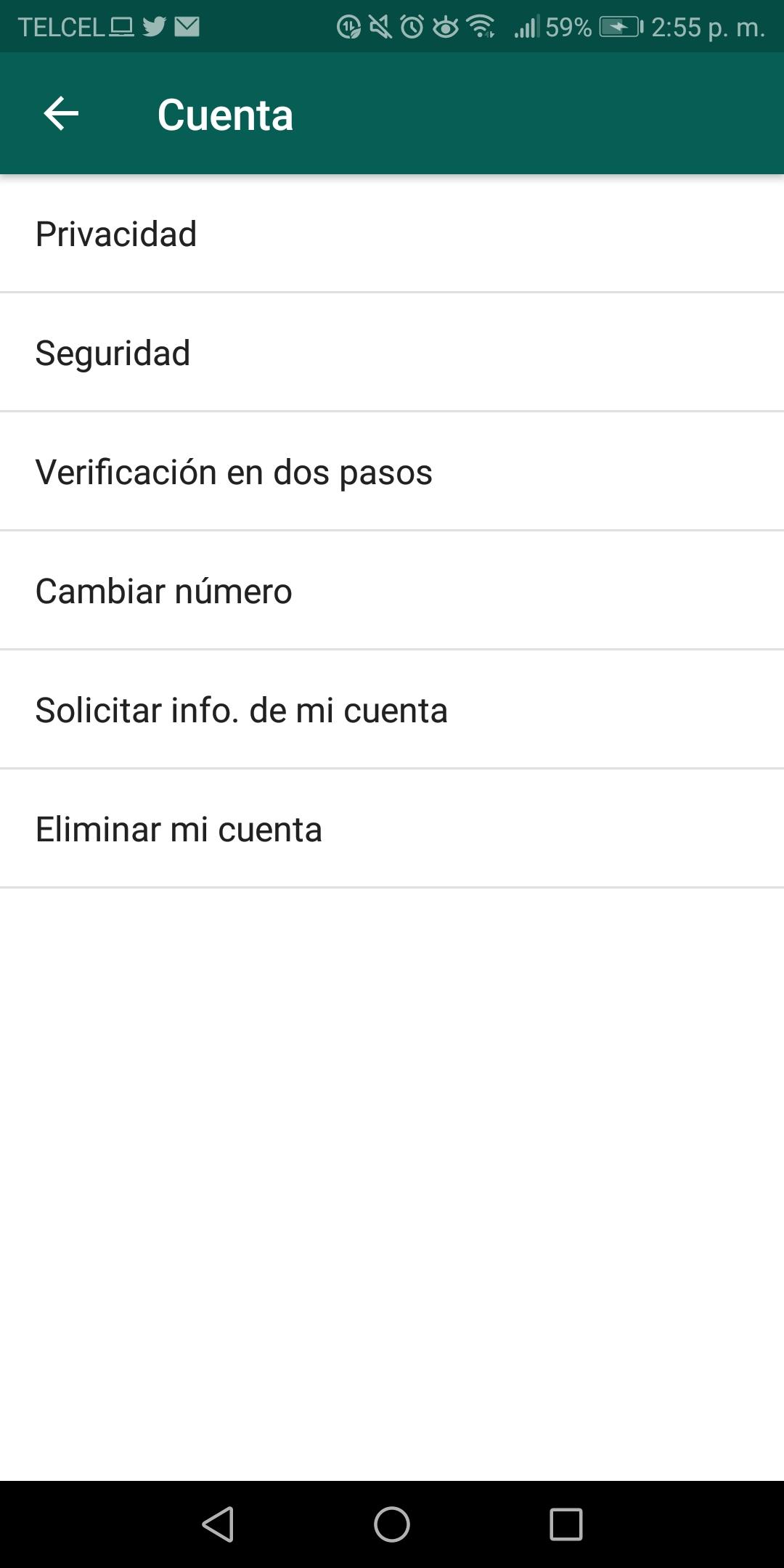 Para cambiar tu número debes ingresar al menú de la app, después ajustes y cuenta, donde verás cambiar número (Captura de pantalla)