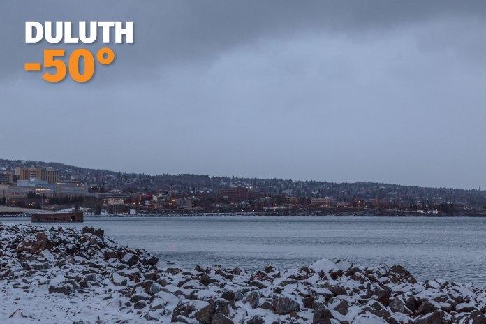 En Duluth, al norte del estado de Minnesota, en la costa del Lago Superior, se registró una sensación térmica de 50° bajo cero.