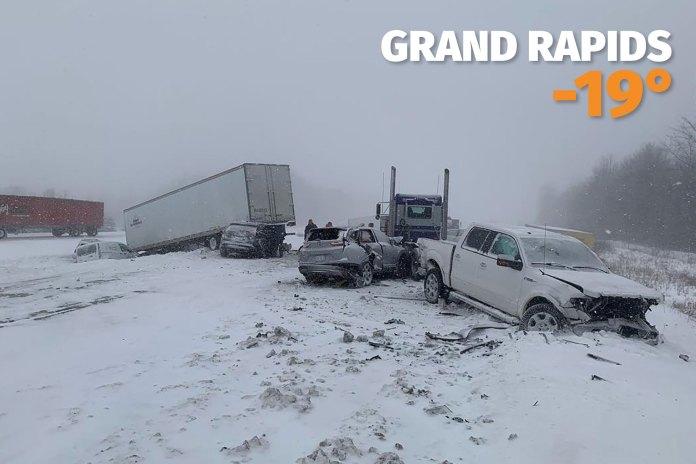 Un accidente en Gran Rapids, Michigan , donde la sensación térmica llegó a los 46 grados centígrados bajo cero.