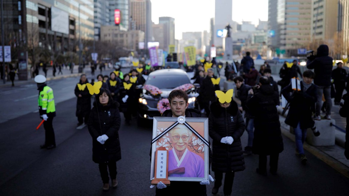 Kim Bok-dong murió de un cáncer a los 92 años (REUTERS/Kim Hong-Ji)
