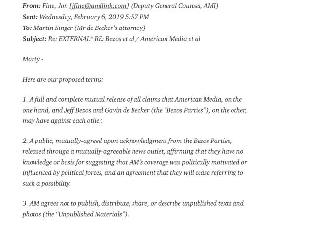 El correo del asesor legal de AMI según lo transcribió Jeff Bezos en el blog Medium.