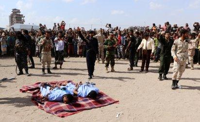 El cuerpo de los ejecutados, ya sin vida