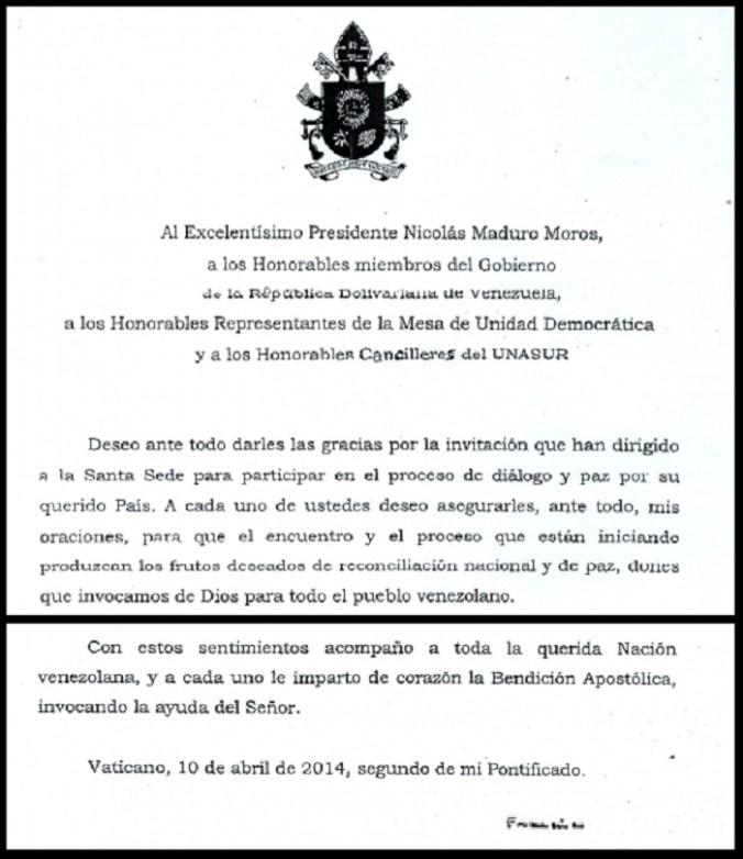 Carta del 2014, con la mención al cargo de Maduro