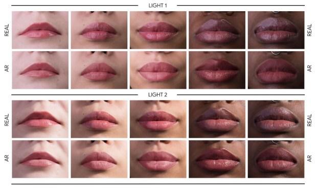 Estudio de caso que compara el maquillaje real con nuestro maquillaje AR en cinco sujetos bajo diferentes condiciones de iluminación. (Foto: ai.googleblog.com)