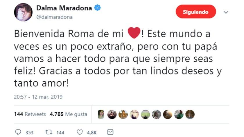 El tuit de Dalma tras el nacimiento de su hija Roma