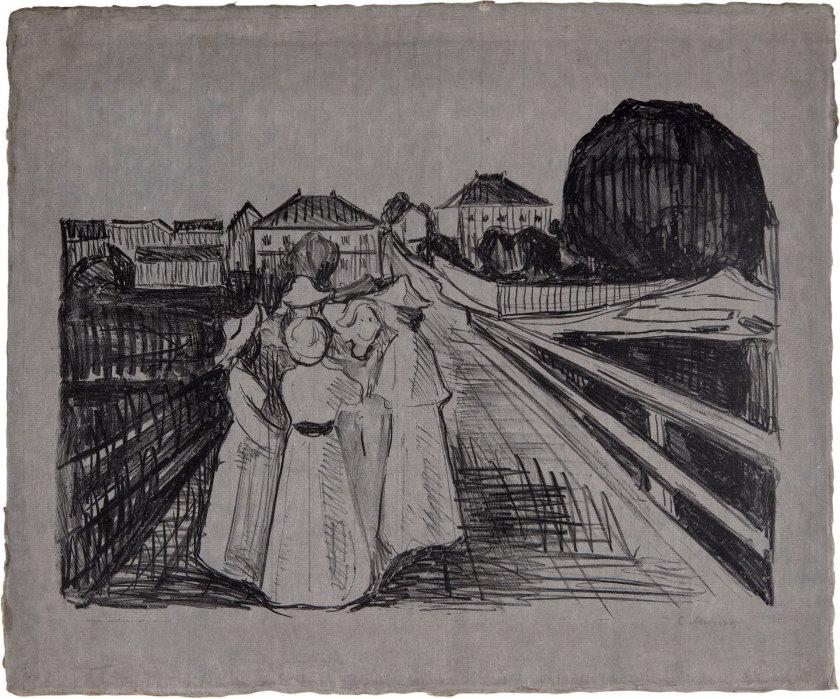"""On The Bridge"", litografía de Edvard Munch (1912-1913), en David Tunick."