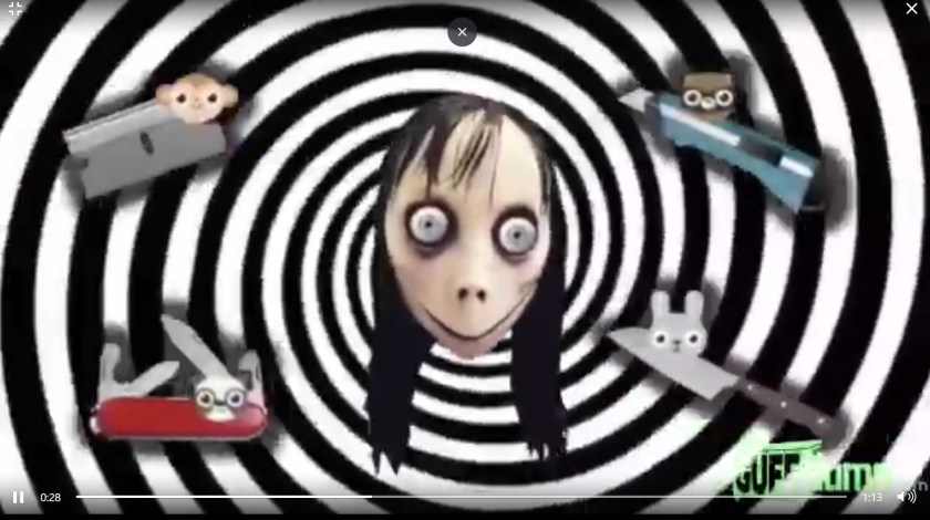 Una captura del mensaje de Momo que se ve en un video infantil.