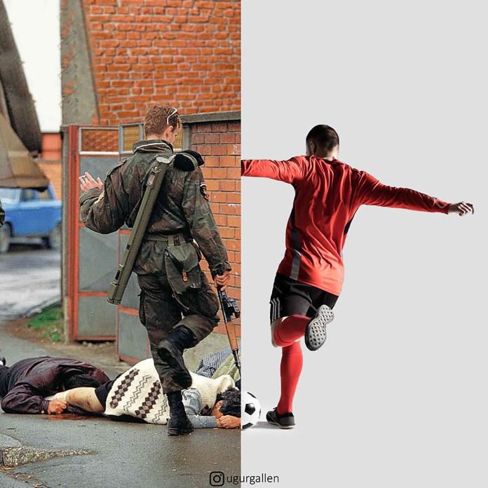 Un jugador de fútbol y una imagen brutal durante la guerra en Bosnia.