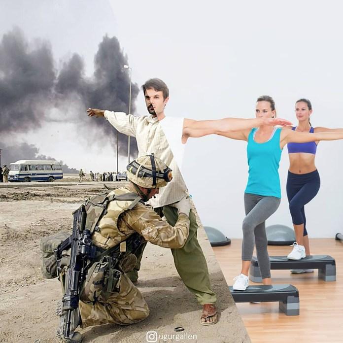 Una clase de aerobics y una escena de la guerra en Basora, Irak.