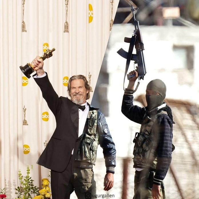 Jeff Bridges en los Oscars y una escena de la guerra en Siria.