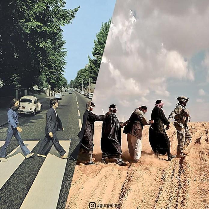 La icónica foto de Los Beatles en Liverpool y una escena de guerra en Irak