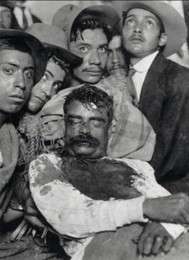 El cadáver de Zapata exhibido en Cuautla