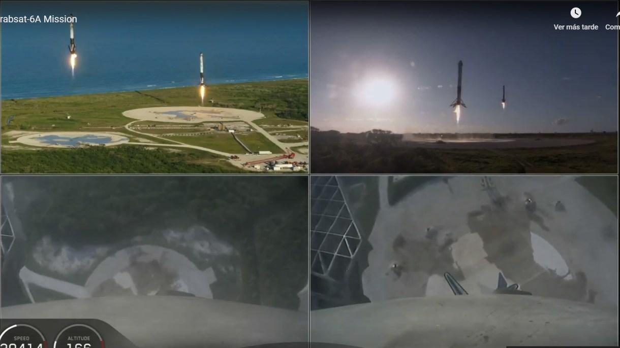 El momento en que los dos cohetes laterales reutilizables se preparan para aterrizar en forma vertical