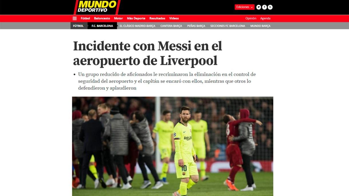 El medio que dio a conocer lo ocurrido con Messi