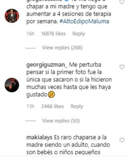 Algunos de los mensajes que recibió Maluma