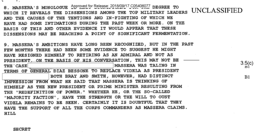 """Los diplomáticos estadounidenses parecen haber escuchado solamente """"el monólogo de Massera"""", quien esperaba acaso ser un cuarto hombre tras una """"redefinición del poder""""."""