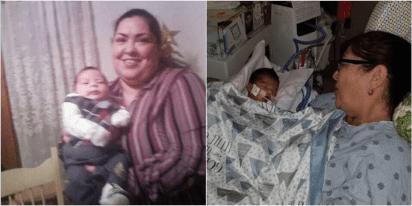 A la izquierda, una foto del Facebook de Clarisa con su hijo Emilio, quien murió hace un año, a la derecha, la acusada con el bebé de la joven a la que asesinó (Foto: Facebook y Go Fund Me)