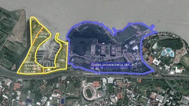 En amarillo, los terrenos que recupera la UBA