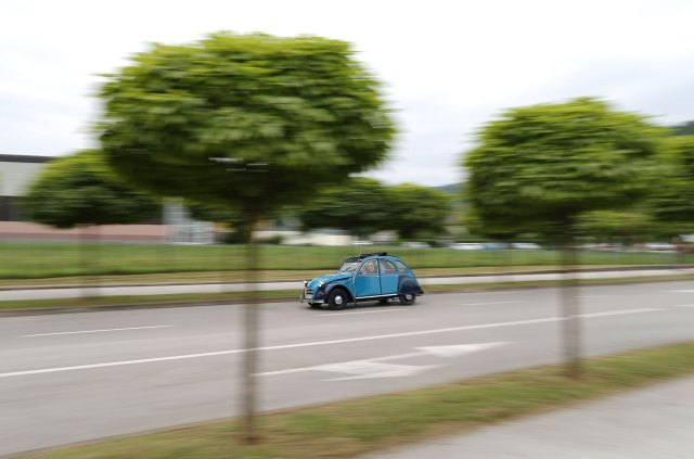 Citroen 2CV on the road during the global meeting of the French manufacturer.  (Reuters)