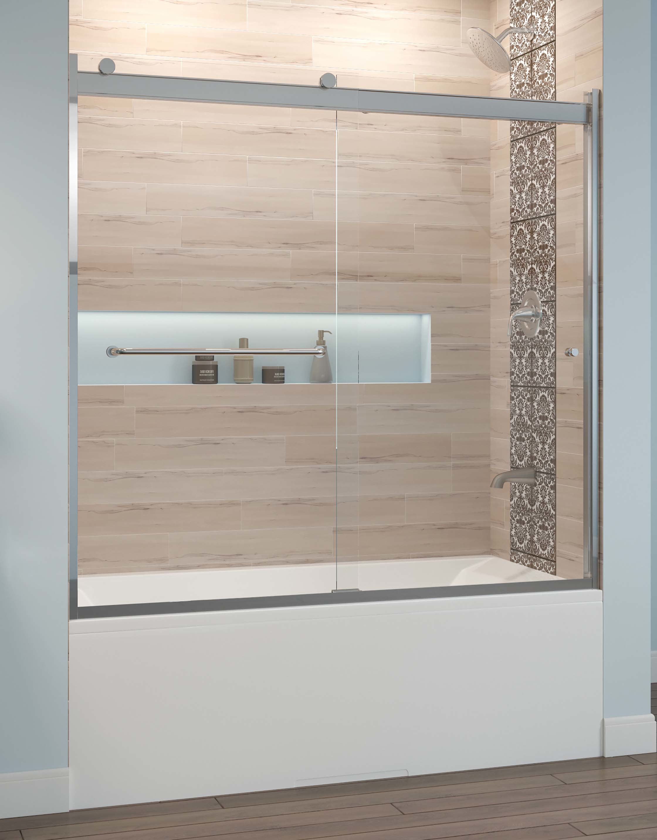 Rotolo Semi Frameless 1 4 Inch Glass Sliding Bath Basco