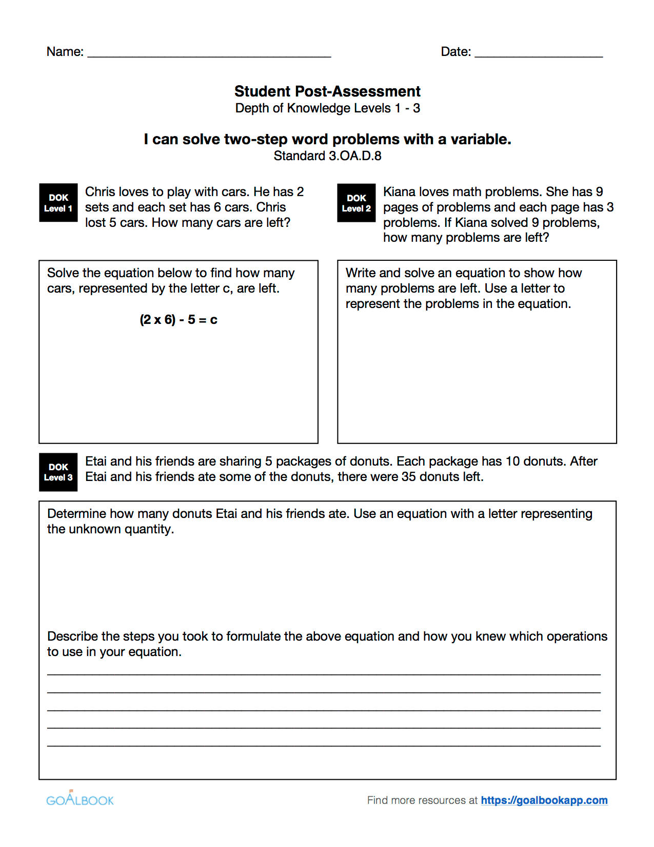 3 Oa 8 Two Step Word Problems