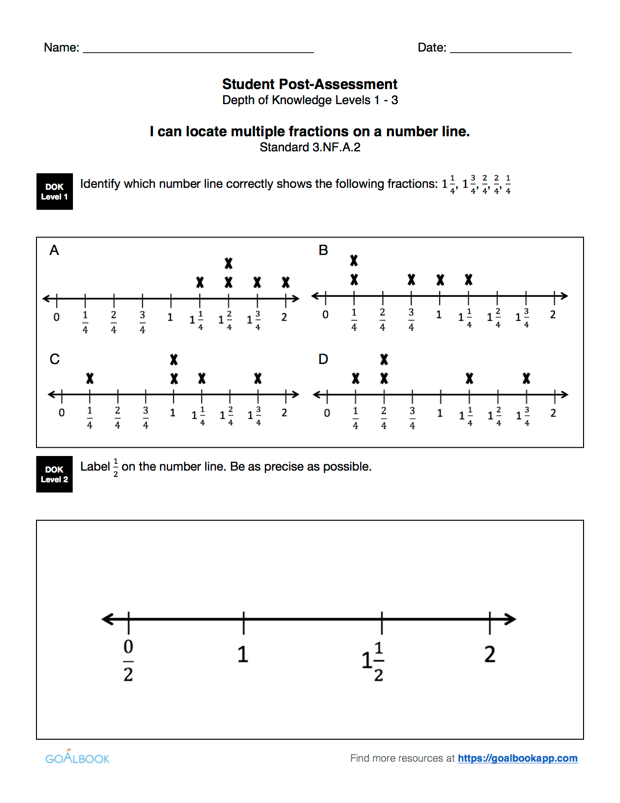 3 Nf 2 Fractions And Number Lines