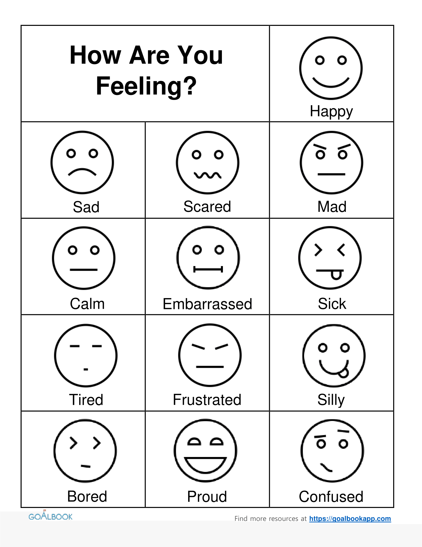 Free Emotions Worksheet