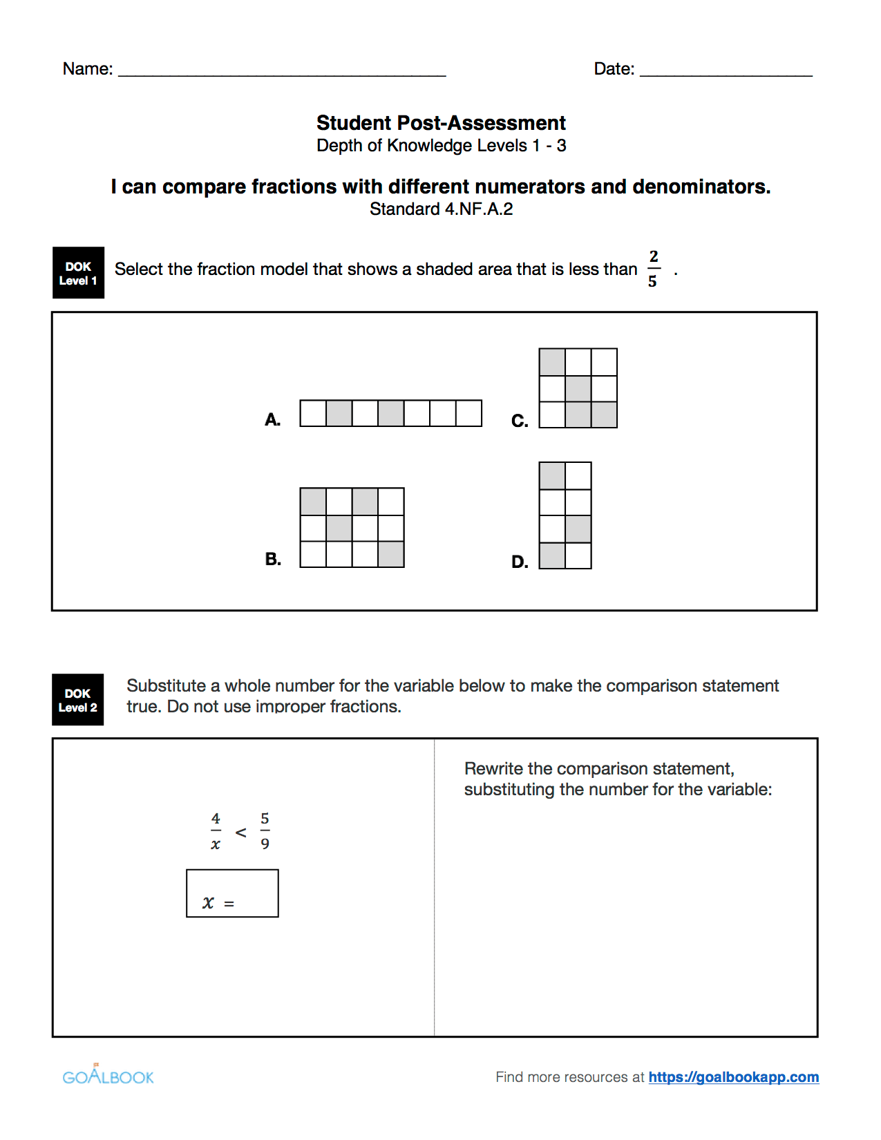 4 2 Compare Fractions With Different Denominators