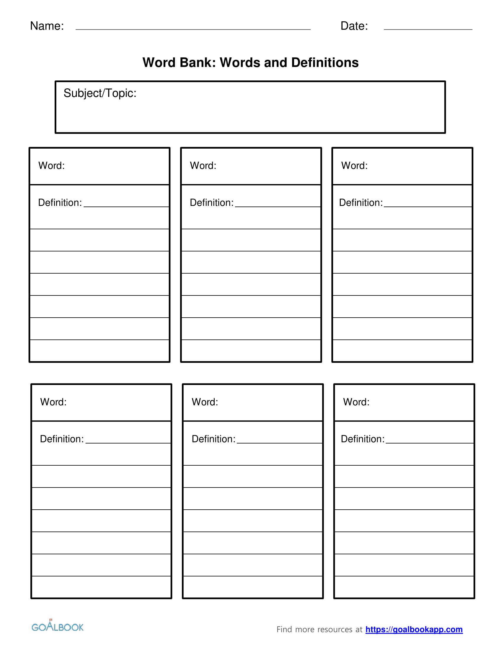 Word Bank Worksheet Template