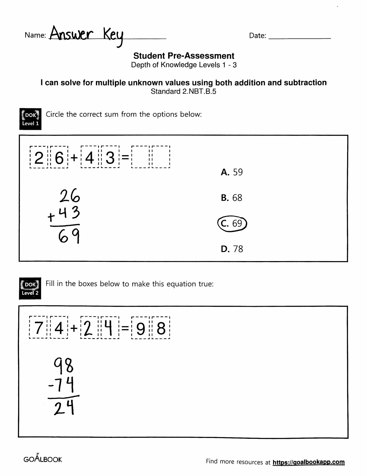 Subtraction Worksheet Within 100