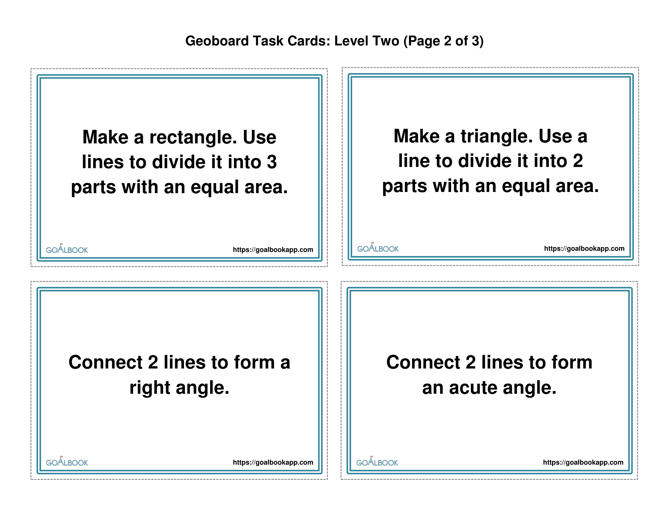 Geoboard Task Cards With Models