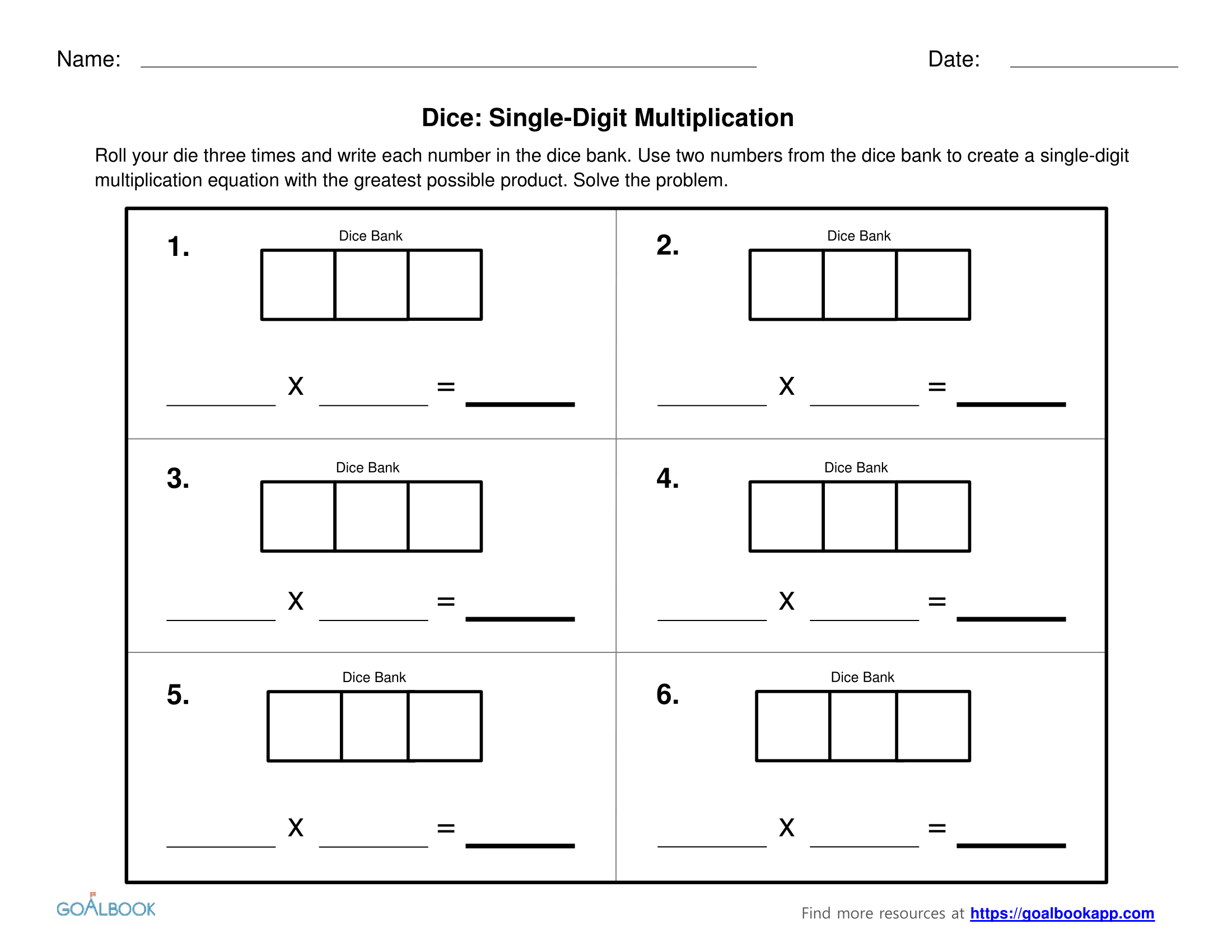 Dice Multiplication Worksheet
