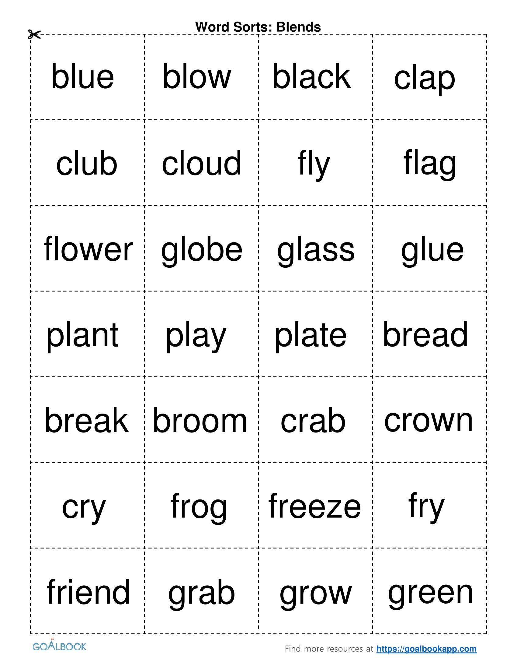 Word Sort Pictures To Pin