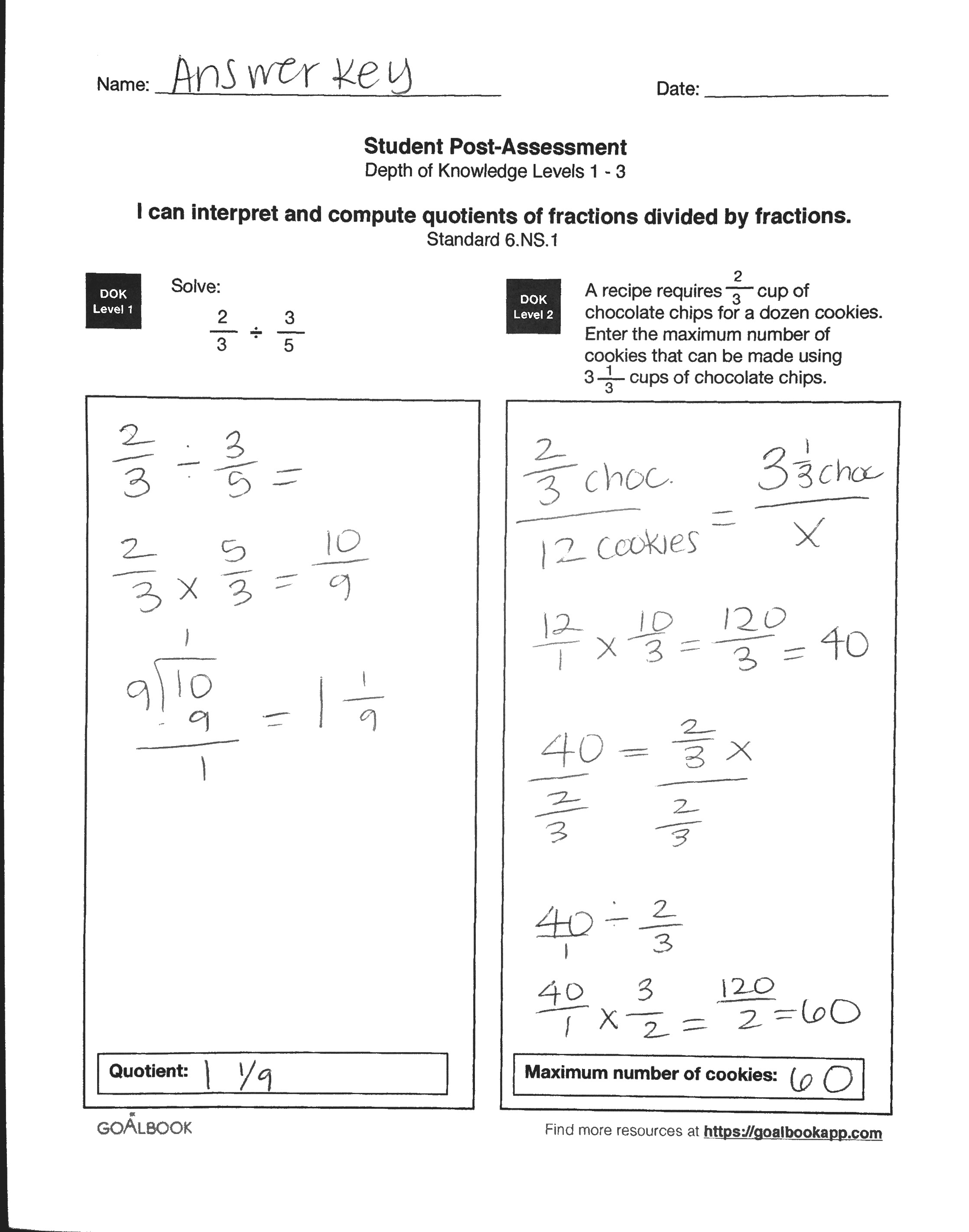 6 Ns 1 Word Problems With Fraction Division