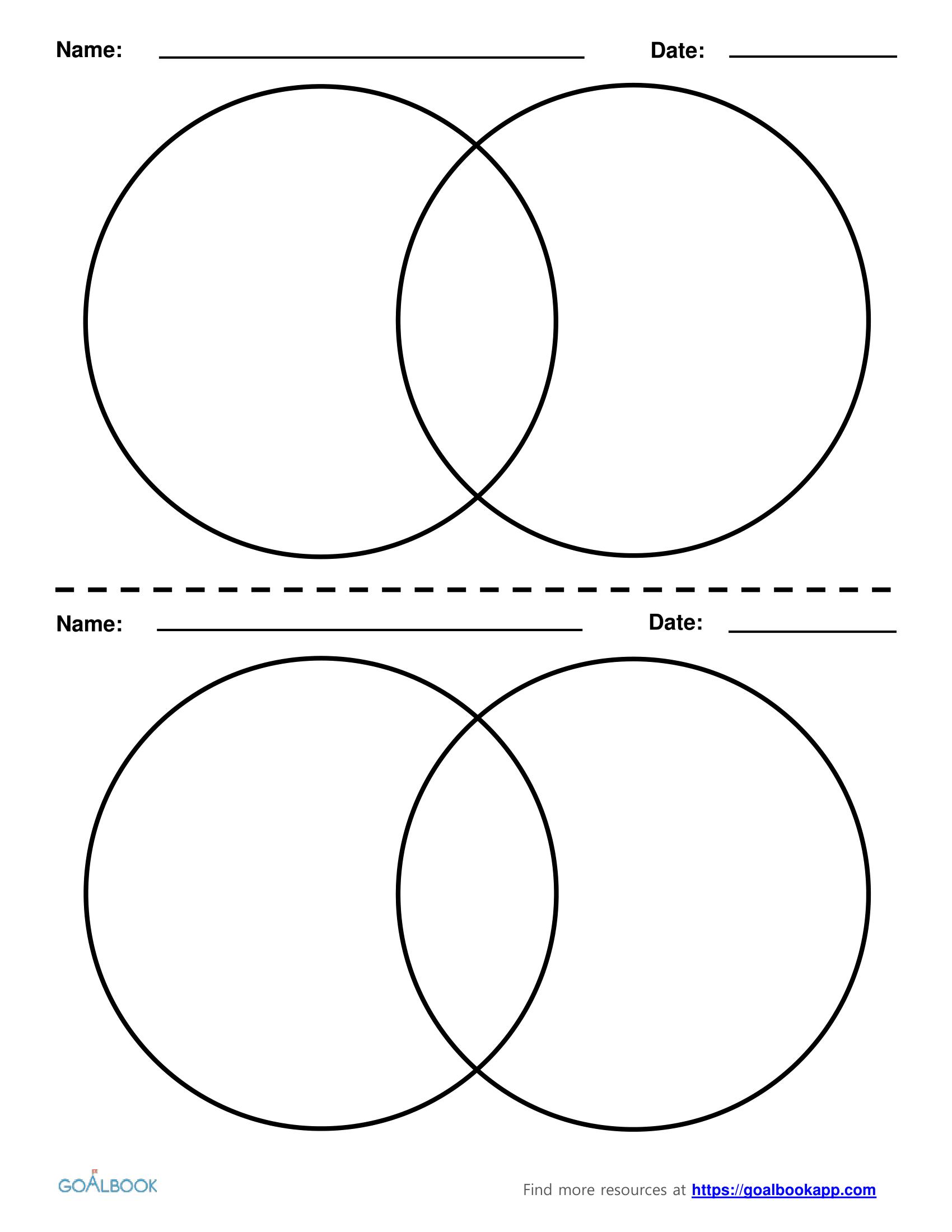 2 Circle Venn Diagrams