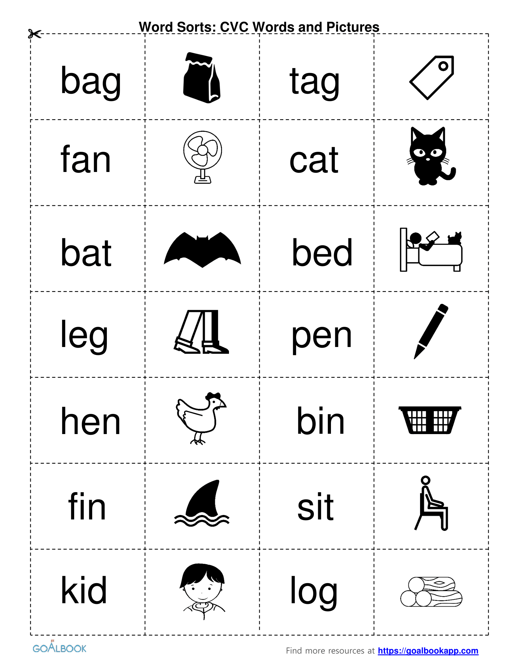 Top Word Sorts Printable