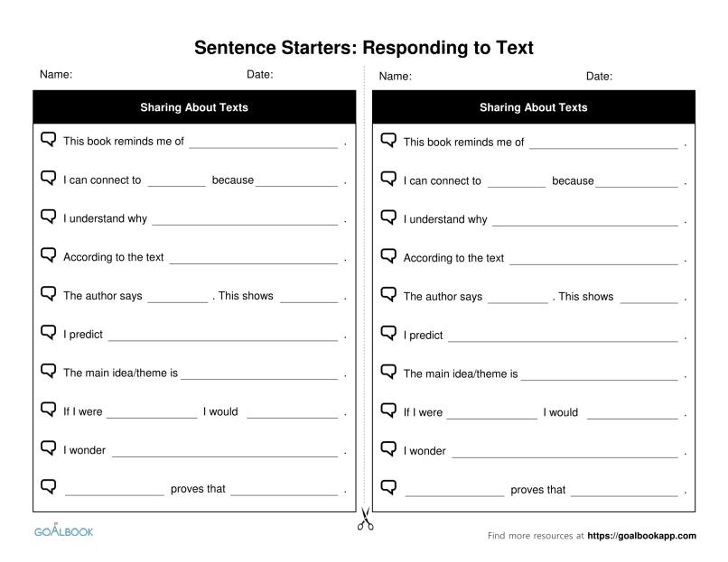Analyzing Literature Sentence Starters Frames