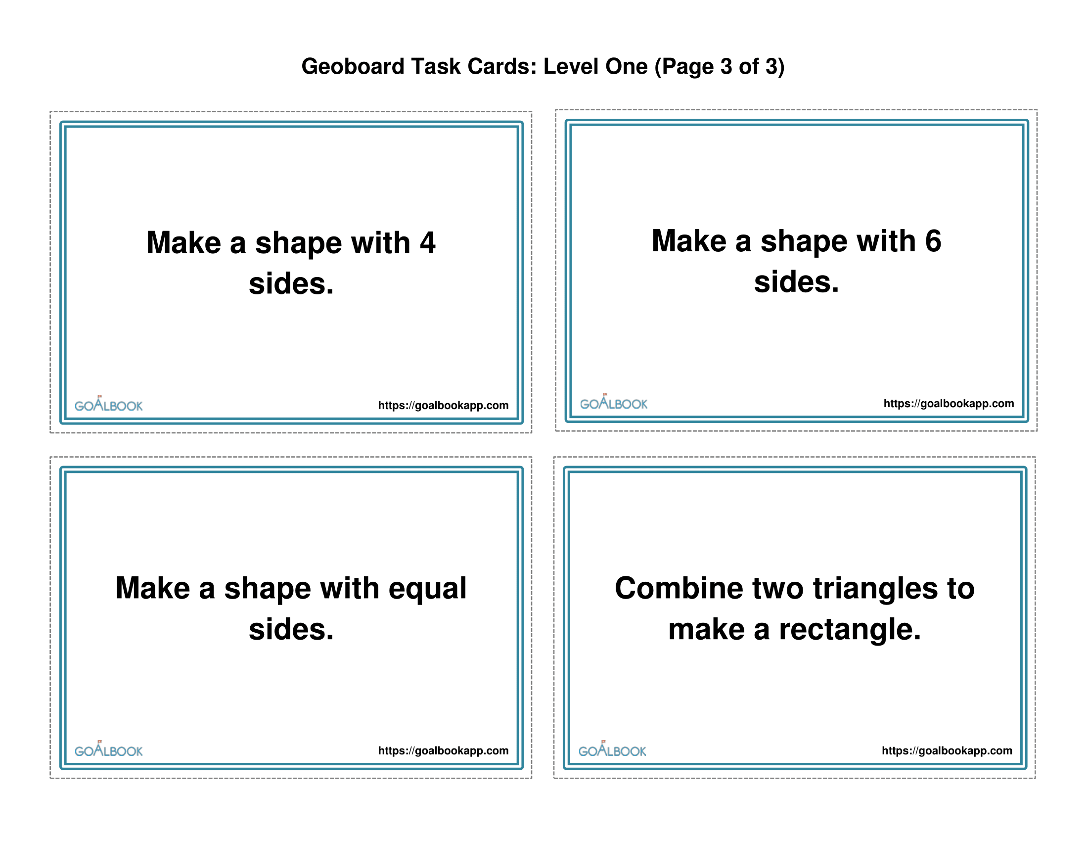 Geoboard Task Cards Level 1 Simple Shapes