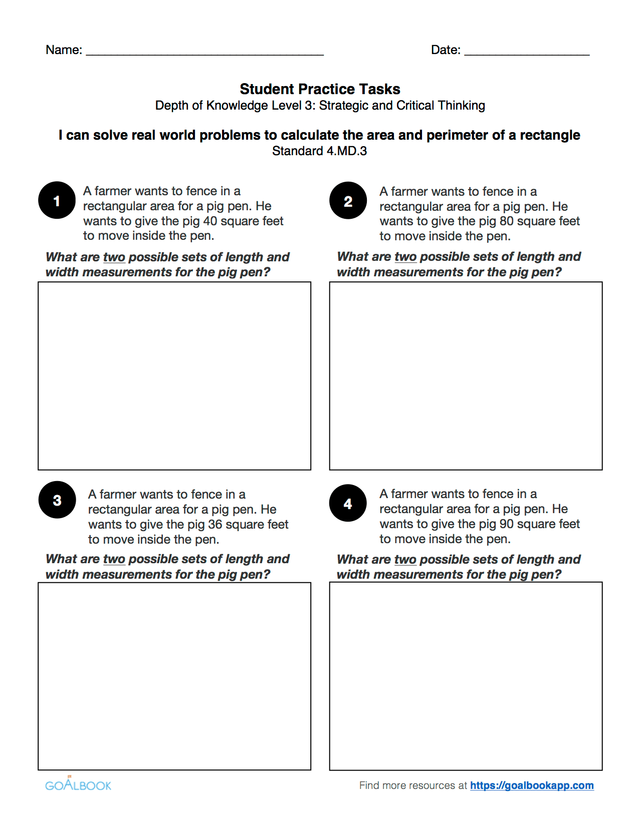 4 3 Word Problems With Area And Perimeter