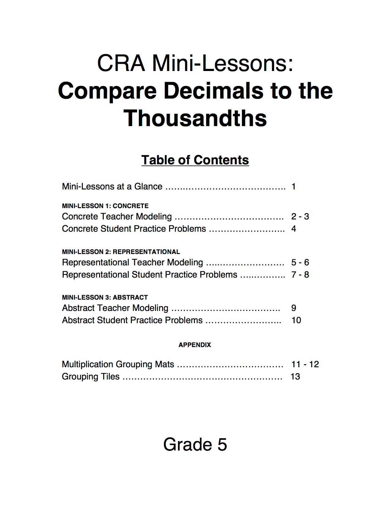 5 Nbt 3 Decimals To The Thousandths