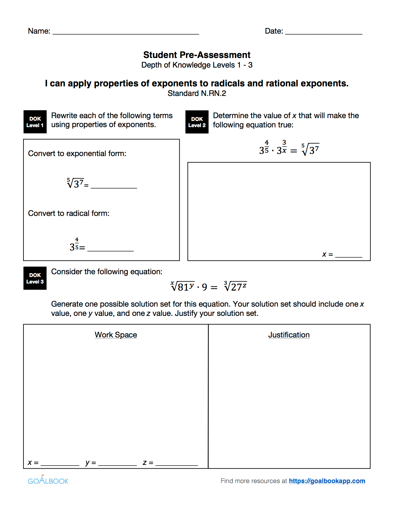 Rational Exponents Real Number Exponents Worksheet