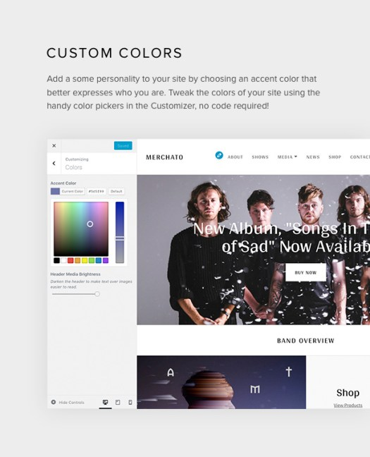 Merchato color customization options