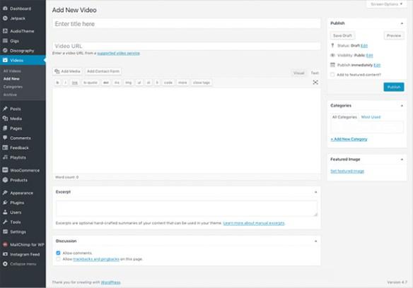 AudioTheme video management