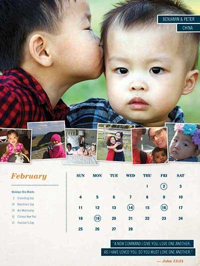 February 2018 Adoption Calendar China