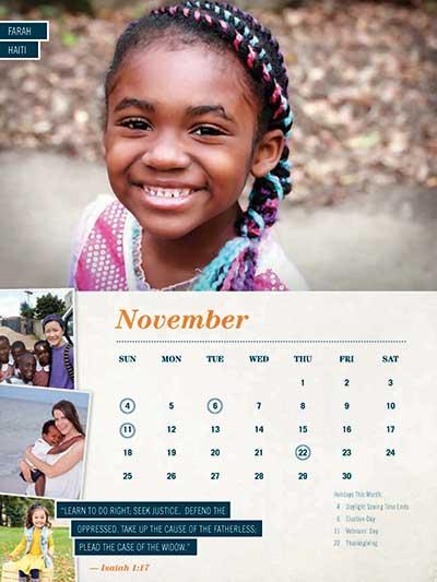 November 2018 Adoption Calendar Ethiopia