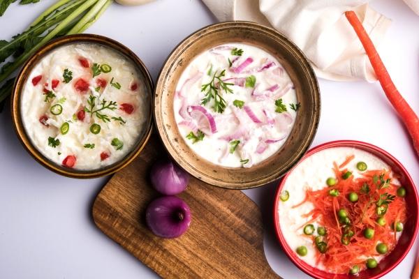 Three types of Raita, Raita without cucumber, easy Raita recipes, Raita pronunciation, Raita.