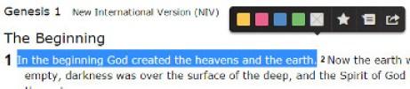 Bible text toolbar
