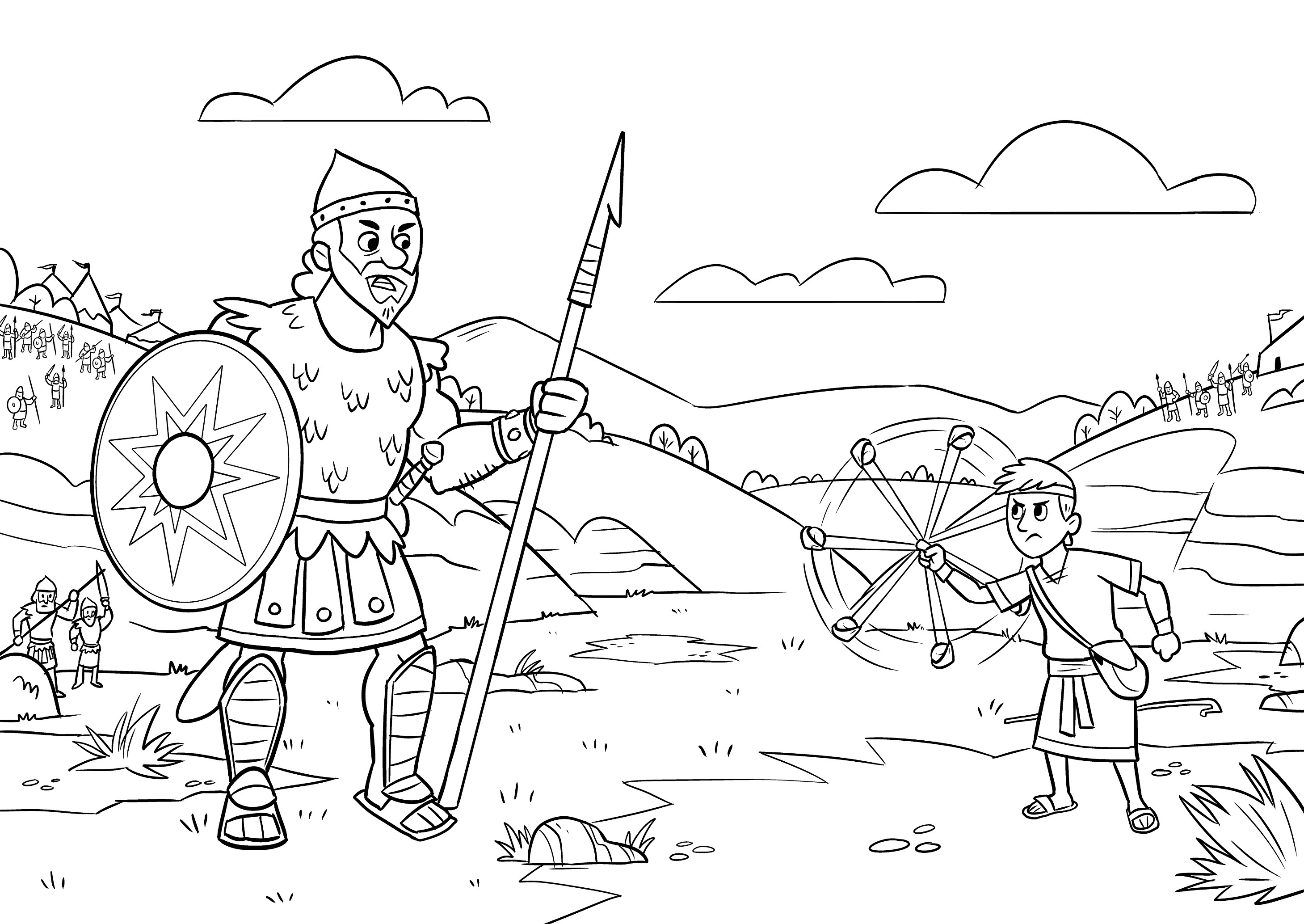 Unique Sunday School Coloring Pages David And Goliath