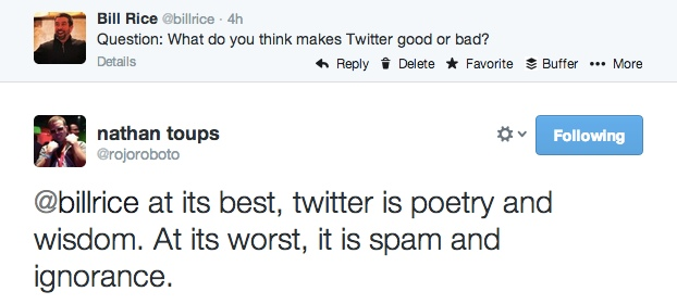 What makes twitter good or bad?